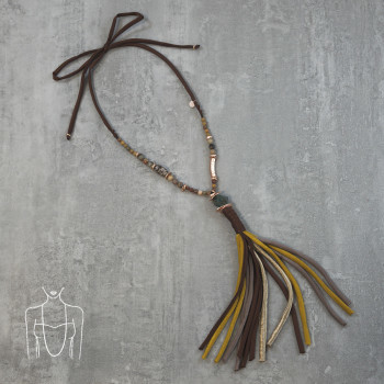 Long necklace made of ribbons with beads