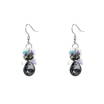Silver drop earrings with stones