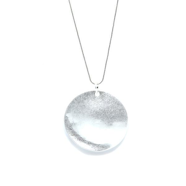 Long silver necklace with round pendant