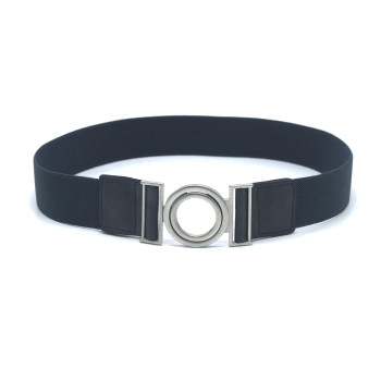 Elastic belt with a silver buckle