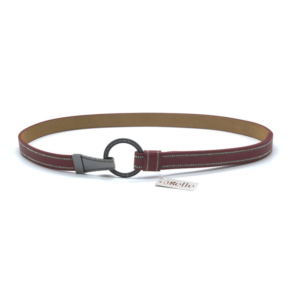 Thin belt with round buckle and rhinestones