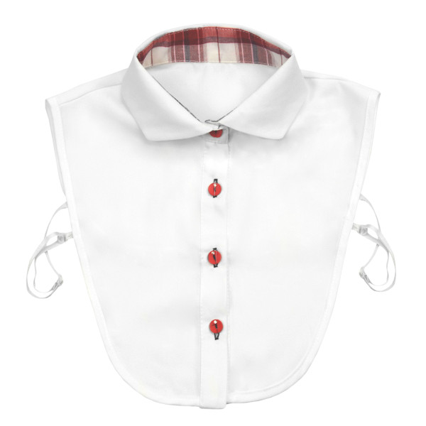 White collar with red buttons