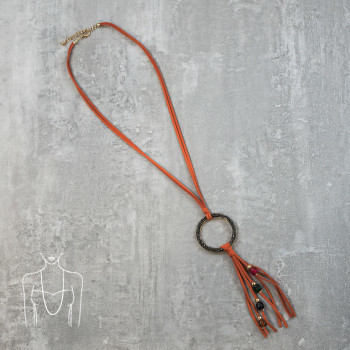 Long necklace with a hoop pendant