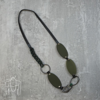 Long necklace with faux leather elements