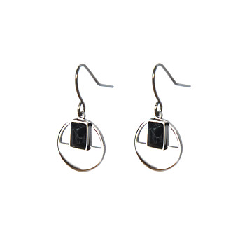 Silver earrings with stone